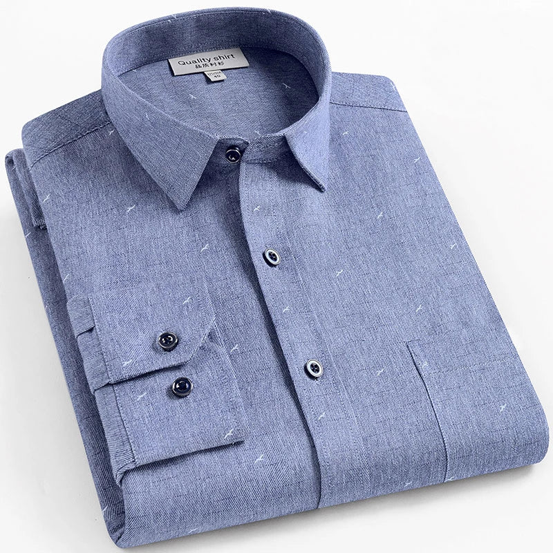 Simple Blue Long Sleeve Casual Shirt