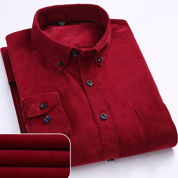 Red Long Sleeve Corduroy Casual Shirt