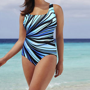 Sky Blue Striped Swimsuit