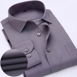 Gray Long Sleeve Twill Dress Shirt