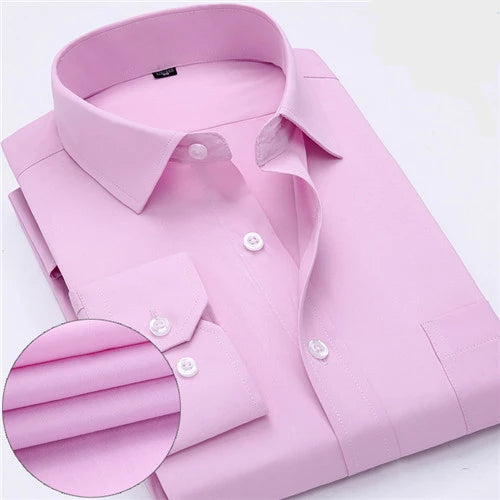 Solid Pink Long Sleeve Dress Shirt
