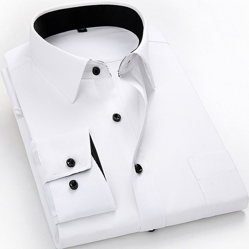 White With Black Button Twill Dress Shirt