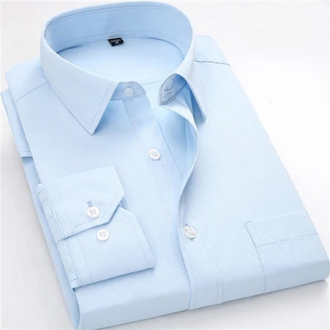 Anthony-Aqua Blue Long Sleeve Twill Dress Shirt