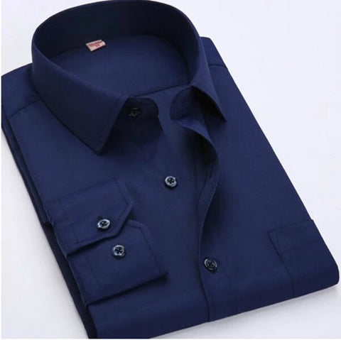 Dark Blue Long Sleeve Twill Dress Shirt