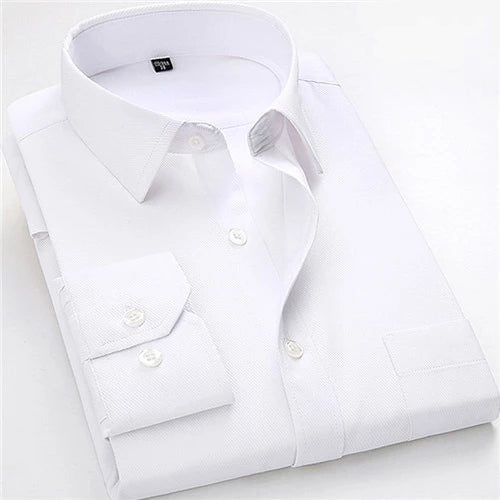 Solid White Long Sleeve Dress Shirt