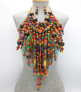 Natural Wood Beaded Fringe Necklace Set