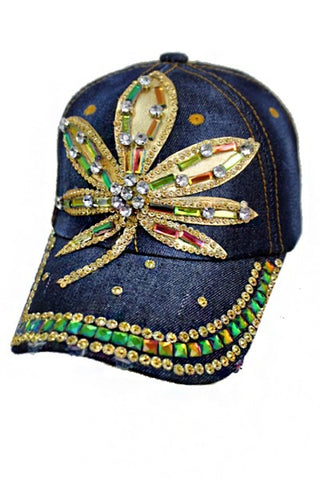 Herbal Floral Golden Stone Bling Denim Cap