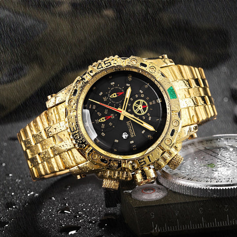 Gold Series-Mens 3D Dial Water-Resistant Quartz Watches