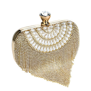 Tassel My Heart With Pearls Clutch