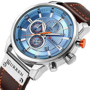 Sky Blue Face Quartz Leather Band Sports Watch