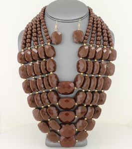 Facet Beaded Necklace Set