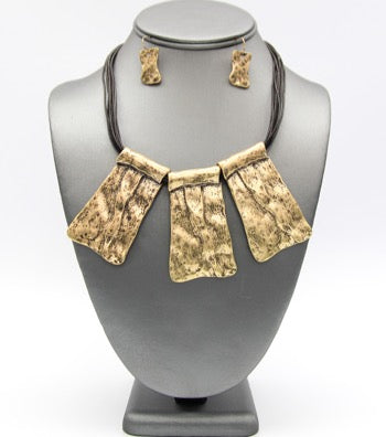 Waxed and Hammered Necklace Set