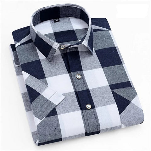 Navy & White Short Sleeve Casual Shirt