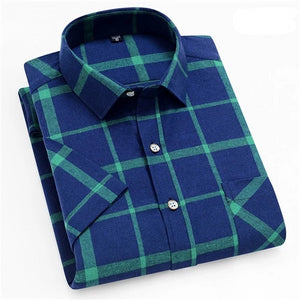 Blue & Green Short Sleeve Plaid Casual Shirt