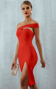 On Notice Womens Red Off Shoulder Front Slit Party Dress