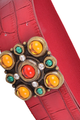 Faux Leather Color Rhinestones Attached Stretch Belt