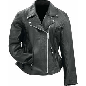 Ladies Solid Genuine Buffalo Leather Motorcycle Jacket