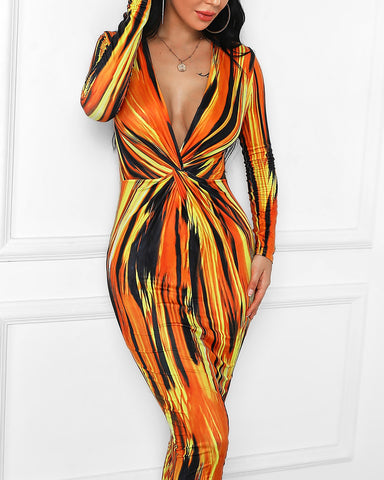 Orange Twisted and Abstract Bodycon Dress