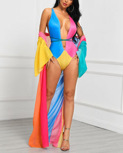 Colorblocked & Spliced Swimwear