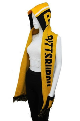 PITTSBURGH Double Layer Thick Knit Hooded Winter Scarf With Pockets