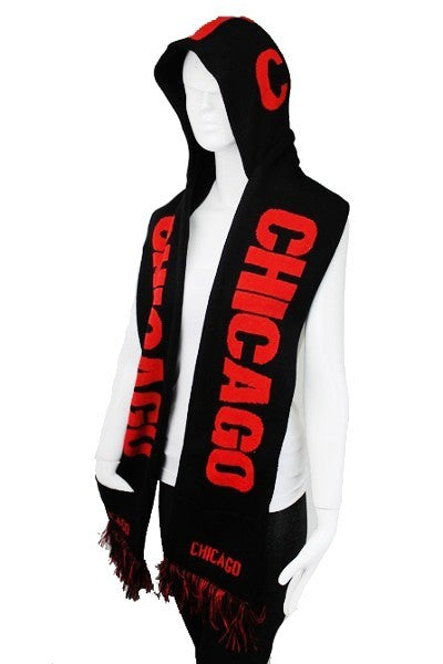 CHICAGO Double Layer Thick Knit Hooded Winter Scarf With Pockets