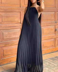 Back Up Black Halter Flowy Pleated Dress