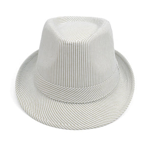 Tan Striped Fashion Fedora with Black Band