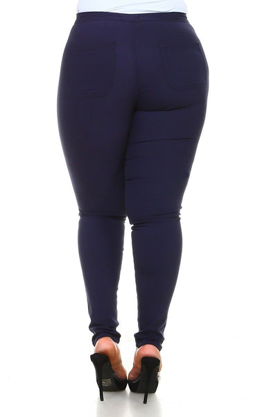 Dark Blue Plus Size  Stretchy Skinny Jeans