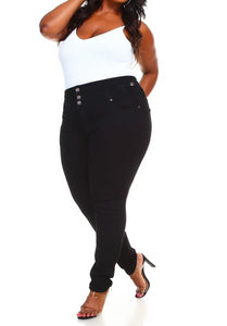 3-Button Black Plus Size Denim Skinny Jeans