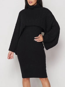 Black Ribbed Sweater Dress Set