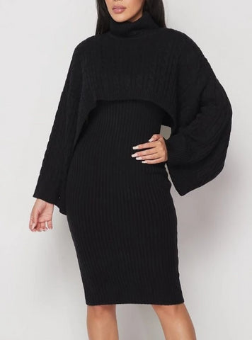 Midnight Delite Ribbed Sweater Dress Set