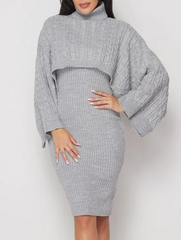 Gray Days Ribbed Sweater Dress