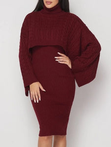 Burgundy For Me Ribbed Sweater Dress Set