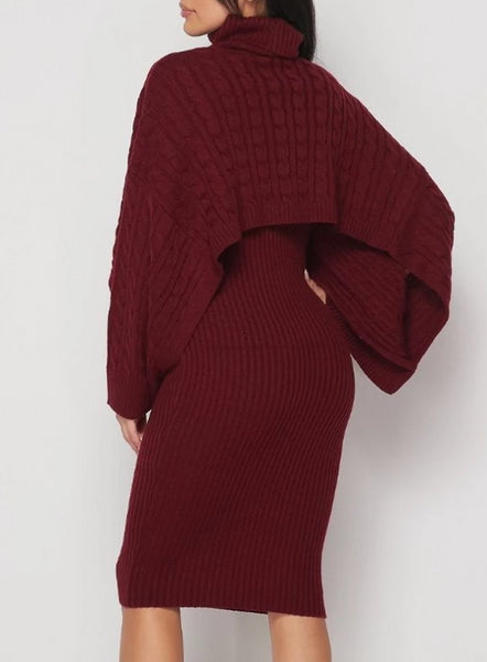 Wine Ribbed Sweater Dress Set