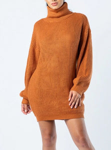 Rustproof Turtle Neck Ribbed Mini Sweater Dress