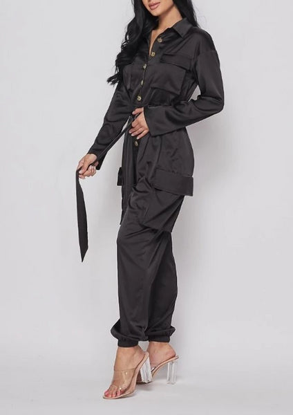 Coal Satin Long Sleeve Cargo Jumpsuit
