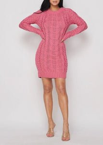 Think Pink Ribbed Mini Sweater Dress