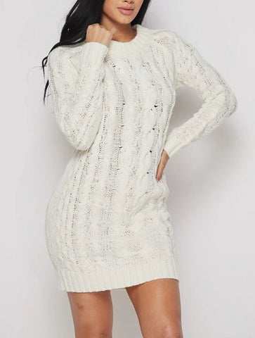 Snowy Ice Ribbed Mini Sweater Dress