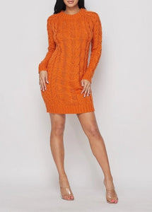 Orange Crush Ribbed Sweater Mini Dress