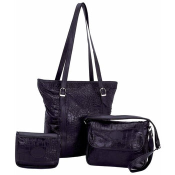Genuine Leather 3 piece Purse Set with Crocodile Embossing