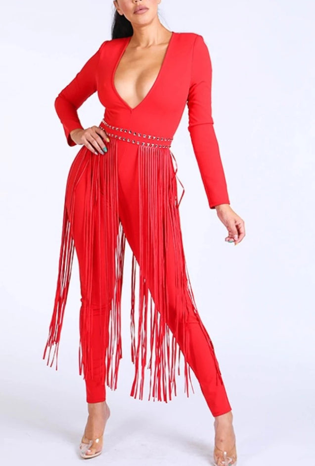 Red Deep In Fringes Jumpsuit