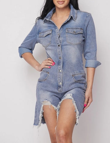 Denim Blue Long Sleeve Denim Romper