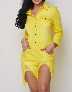 Yellow Long Sleeve Denim Romper