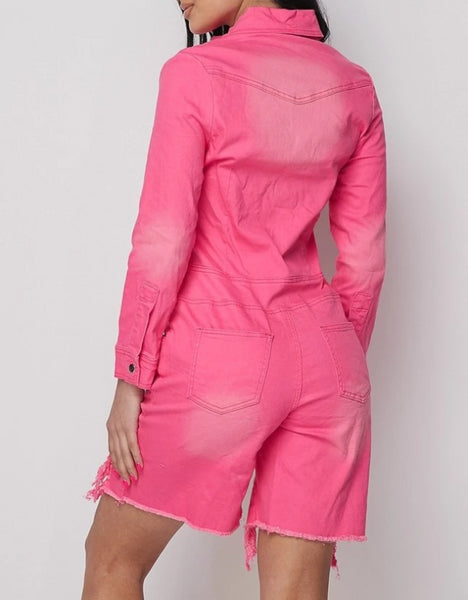 Neon Pink Long Sleeve Denim Romper