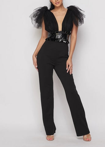 Bodacious Black Sleeveless Belted Tulle Jumpsuit