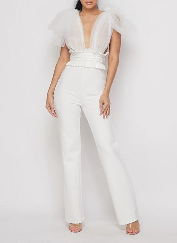 Wittingly White Sleeveless Belted Tulle Jumpsuit