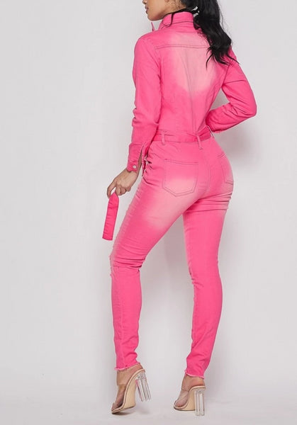 Pink Distressed Denim Jumpsuit