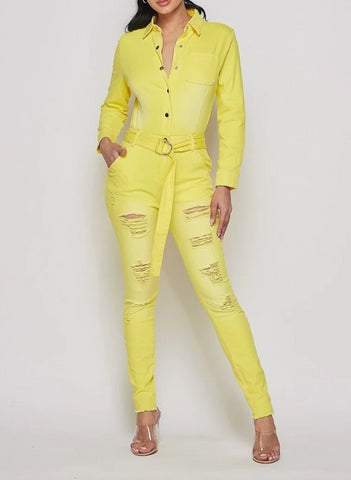 Yellow Distressed Denim Jumpsuit