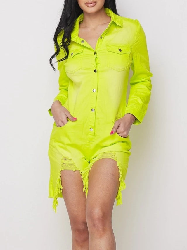 Neon Green Long Sleeve Denim Romper