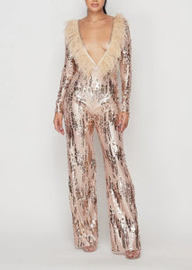 Deep V Feathered Sequin Jumpsuit